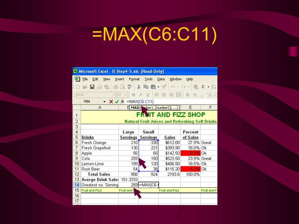 =MAX(C6:C11)