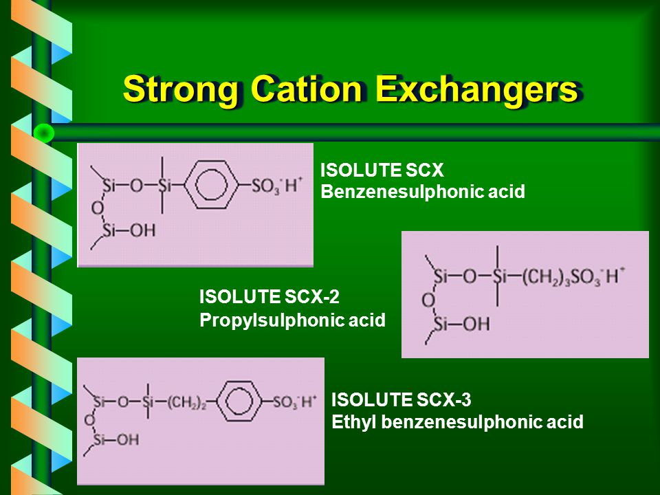 ISOLUTE SCX Sorbents v Extending the range of strong cation exchange sorbents in the ISOLUTE range.