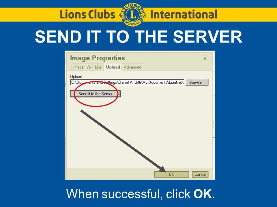 SEND IT TO THE SERVER When successful, click OK.
