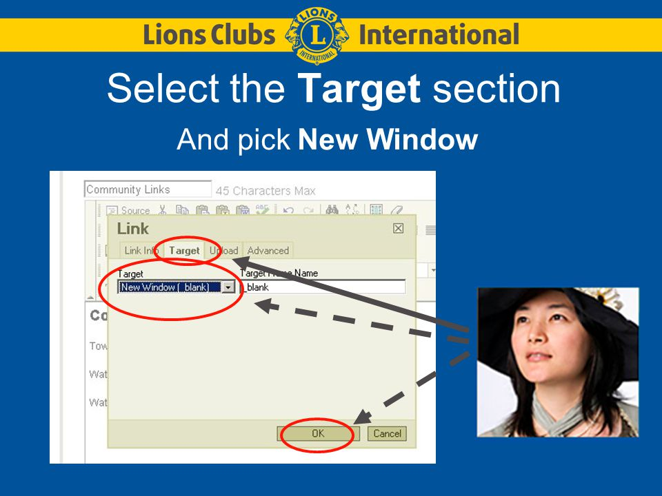 Select the Target section And pick New Window