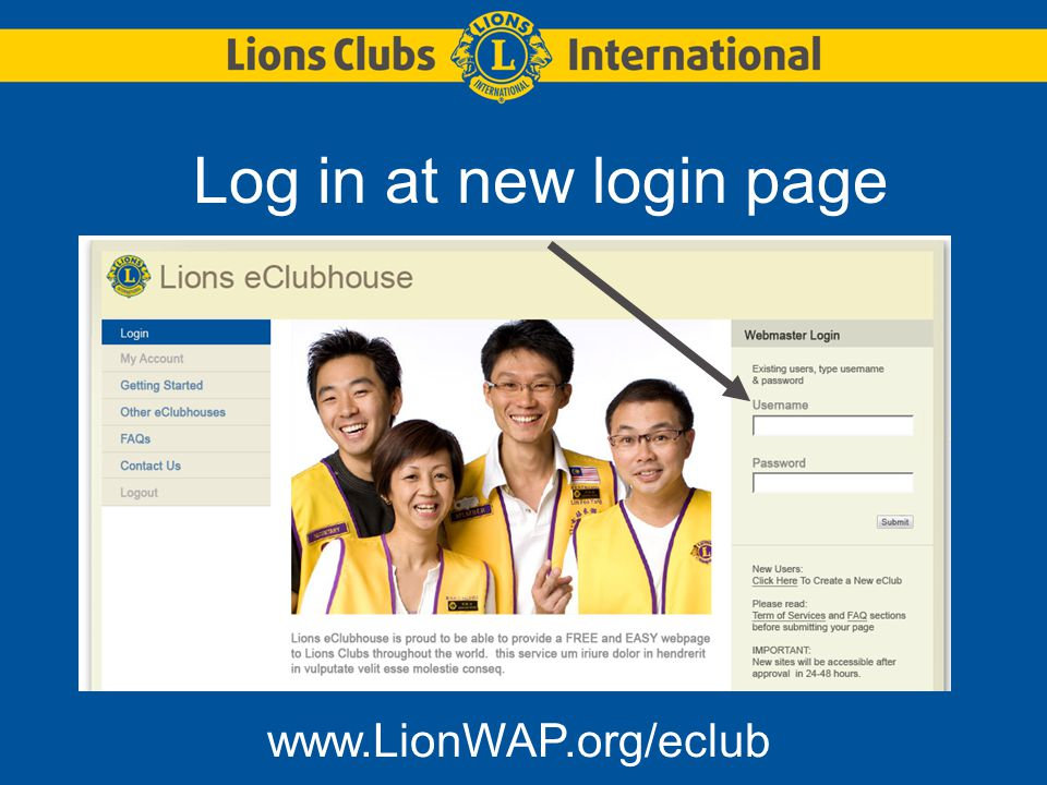 Log in at new login page www.LionWAP.org/eclub