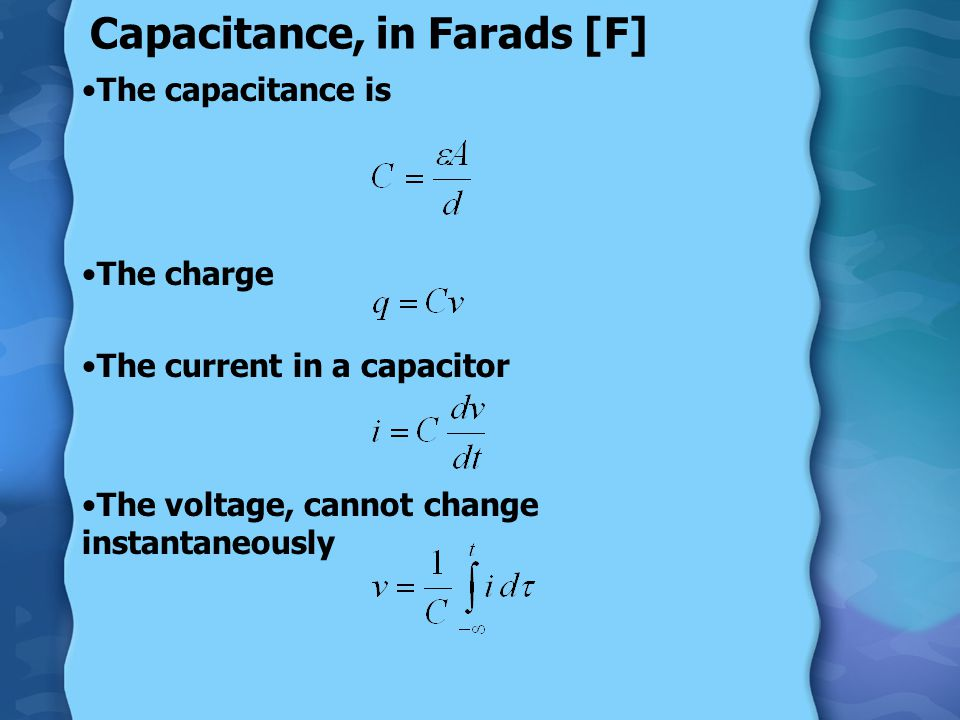 Capacitors Capacitors store electrons in form of separated charge or E field.