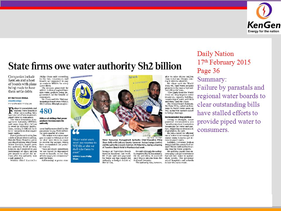 Company LOGO Daily Nation 17 th February 2015 Page C6 Summary: Construction of the 35km bridge in Nyali, Mombasa is scheduled to start next year with cocmpeltion date set for 2018.