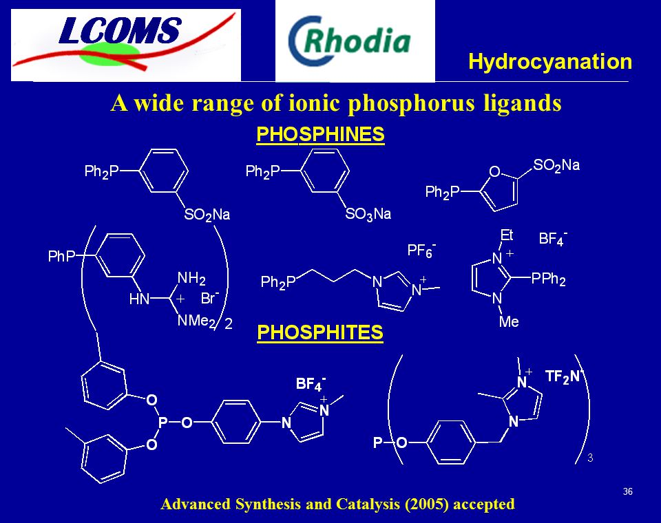 36 Hydrocyanation A wide range of ionic phosphorus ligands Advanced Synthesis and Catalysis (2005) accepted