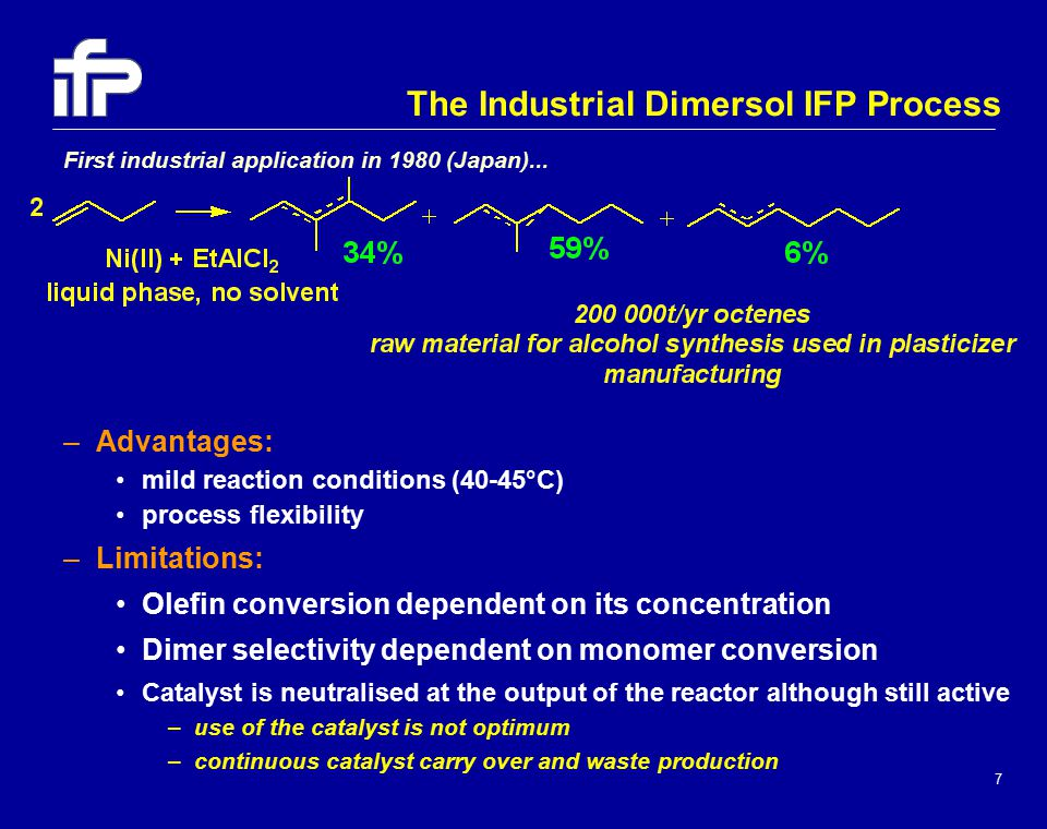 7 –Advantages: mild reaction conditions (40-45°C) process flexibility –Limitations: Olefin conversion dependent on its concentration Dimer selectivity dependent on monomer conversion Catalyst is neutralised at the output of the reactor although still active –use of the catalyst is not optimum –continuous catalyst carry over and waste production The Industrial Dimersol IFP Process First industrial application in 1980 (Japan)...