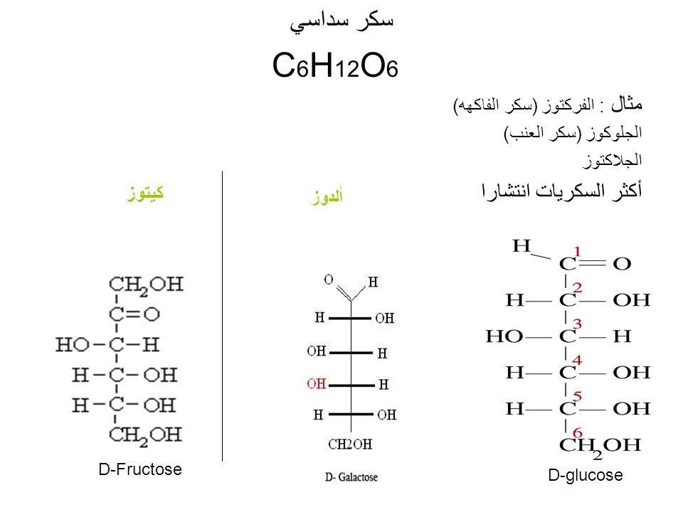 سكر سداسي C 6 H 12 O 6 مثال : الفركتوز (سكر الفاكهه) الجلوكوز (سكر العنب) الجلاكتوز أكثر السكريات انتشارا D-glucose D-Fructose كيتوز ألدوز