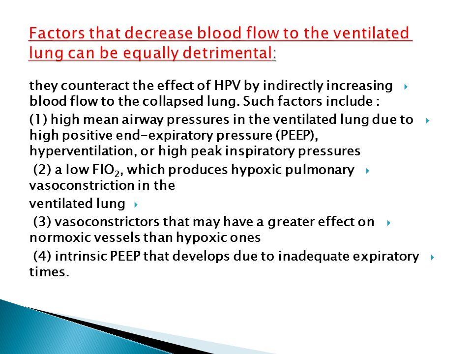  1) very high or very low pulmonary artery pressures  (2) hypocapnia  (3) high or very low mixed venous PO 2  (4) vasodilators such as nitroglycer