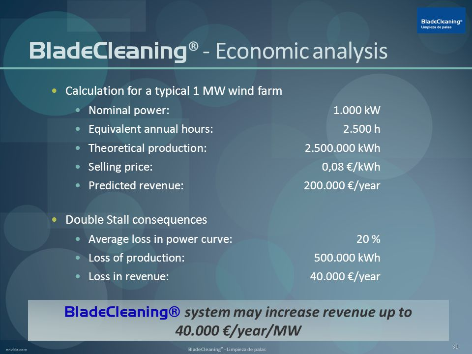 enviria.com BladeCleaning® - Limpieza de palas 31 BladeCleaning ® - Economic analysis Calculation for a typical 1 MW wind farm Nominal power:1.000 kW Equivalent annual hours:2.500 h Theoretical production:2.500.000 kWh Selling price:0,08 €/kWh Predicted revenue:200.000 €/year Double Stall consequences Average loss in power curve:20 % Loss of production:500.000 kWh Loss in revenue:40.000 €/year BladeCleaning® system may increase revenue up to 40.000 €/year/MW