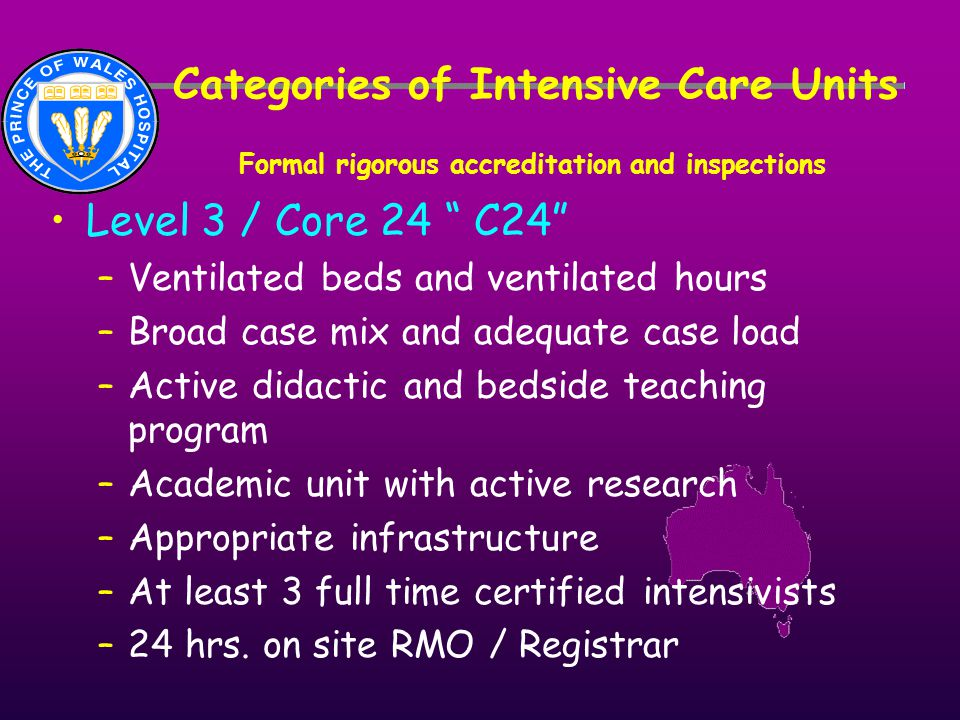"Categories of Intensive Care Units Formal rigorous accreditation and inspections Level 3 / Core 24 "" C24"" –Ventilated beds and ventilated hours –Broad"