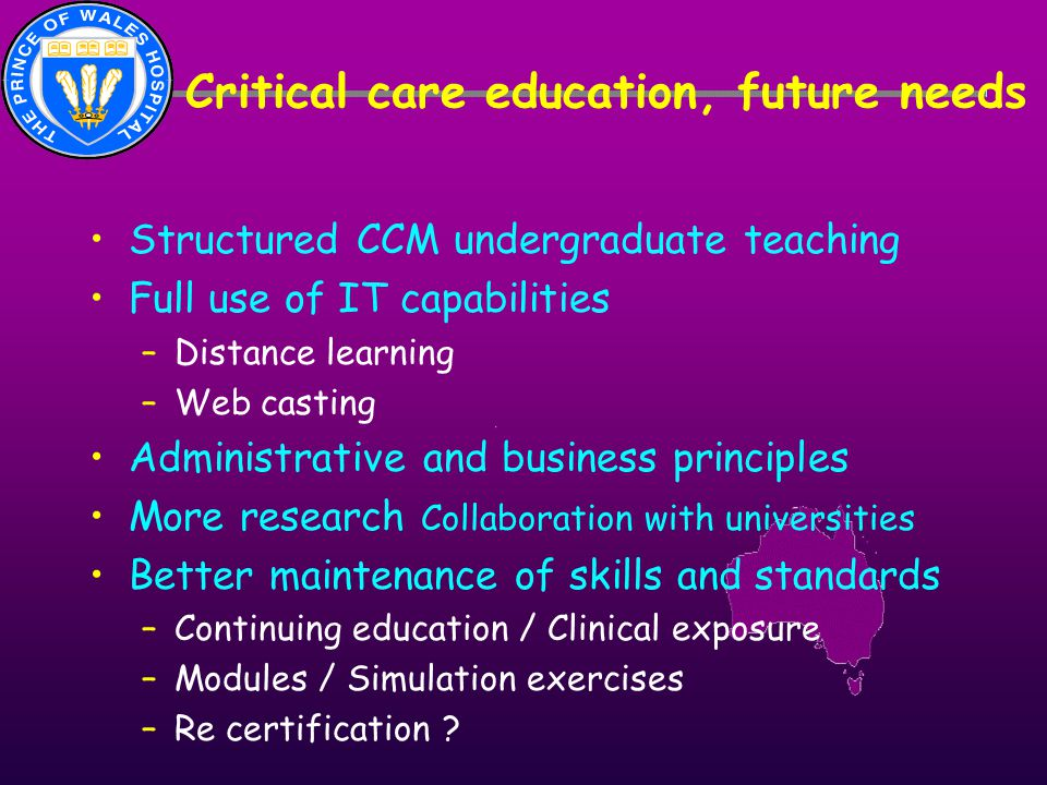 Critical care education, future needs Structured CCM undergraduate teaching Full use of IT capabilities –Distance learning –Web casting Administrative