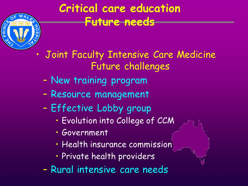 Critical care education Future needs Joint Faculty Intensive Care Medicine Future challenges –New training program –Resource management –Effective Lob