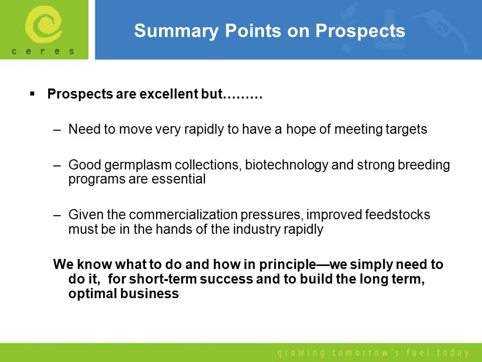 Summary Points on Prospects  Prospects are excellent but……… –Need to move very rapidly to have a hope of meeting targets –Good germplasm collections, biotechnology and strong breeding programs are essential –Given the commercialization pressures, improved feedstocks must be in the hands of the industry rapidly We know what to do and how in principle—we simply need to do it, for short-term success and to build the long term, optimal business