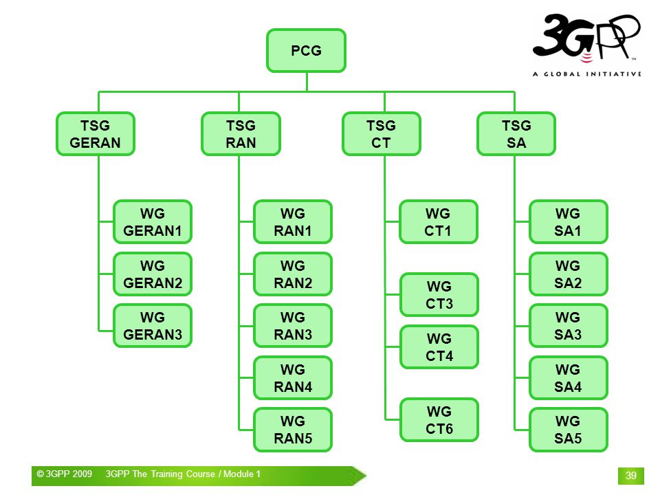 © 3GPP 2009 Mobile World Congress, Barcelona, 19 th February 2009© 3GPP 2009 3GPP The Training Course / Module 1 39 PCG TSG GERAN TSG RAN TSG CT TSG SA WG GERAN1 WG GERAN2 WG GERAN3 WG RAN1 WG RAN2 WG RAN3 WG RAN4 WG RAN5 WG SA1 WG SA2 WG SA3 WG SA4 WG SA5 WG CT1 WG CT3 WG CT4 WG CT6