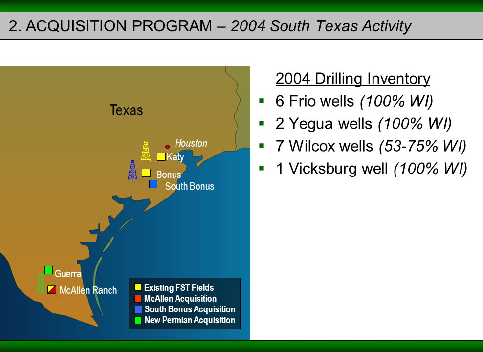 2004 Drilling Inventory  6 Frio wells (100% WI)  2 Yegua wells (100% WI)  7 Wilcox wells (53-75% WI)  1 Vicksburg well (100% WI) McAllen Acquisition Existing FST Fields South Bonus Acquisition New Permian Acquisition Texas Katy South Bonus Bonus Houston Guerra McAllen Ranch 2.