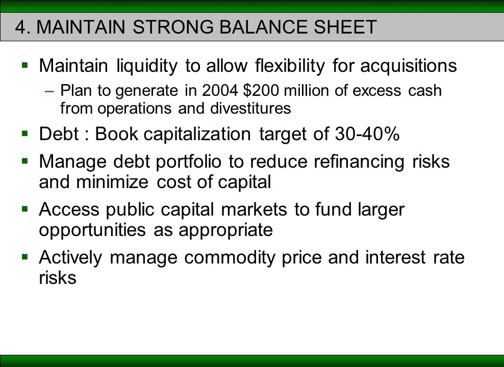 4. MAINTAIN STRONG BALANCE SHEET  Maintain liquidity to allow flexibility for acquisitions –Plan to generate in 2004 $200 million of excess cash from
