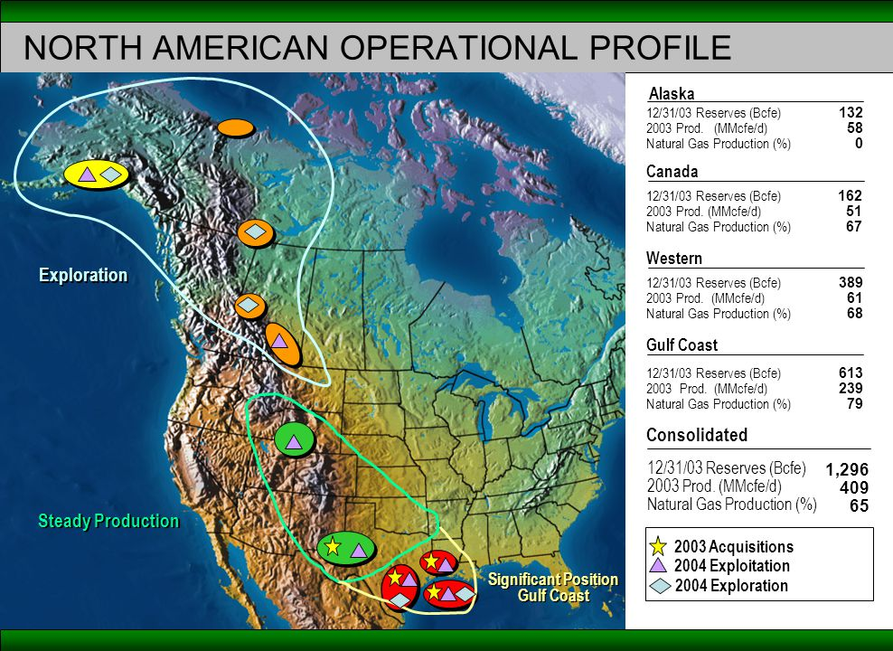 NORTH AMERICAN OPERATIONAL PROFILE Significant Position Gulf Coast Significant Position Gulf Coast Exploration Steady Production 12/31/03 Reserves (Bcfe) 2003 Prod.