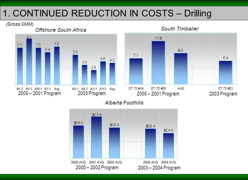 2003 Program2000 – 2001 Program (Gross $MM) Offshore South Africa 2003 Program2000 – 2001 Program South Timbalier Alberta Foothills 1.