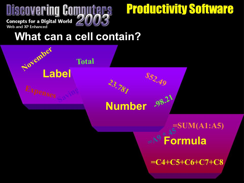 Productivity Software What can a cell contain.