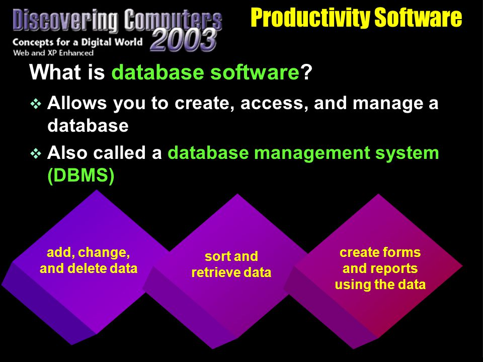 Productivity Software What is database software.