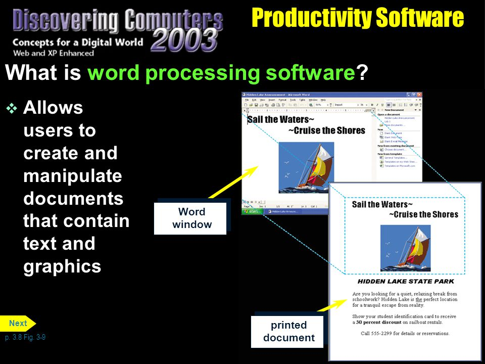Productivity Software What is word processing software.