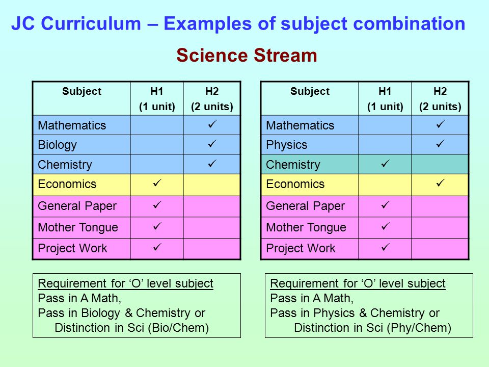 JC Curriculum – Examples of subject combination SubjectH1 (1 unit) H2 (2 units) Mathematics Biology Chemistry Economics General Paper Mother Tongue Project Work Science Stream SubjectH1 (1 unit) H2 (2 units) Mathematics Physics Chemistry Economics General Paper Mother Tongue Project Work Requirement for 'O' level subject Pass in A Math, Pass in Biology & Chemistry or Distinction in Sci (Bio/Chem) Requirement for 'O' level subject Pass in A Math, Pass in Physics & Chemistry or Distinction in Sci (Phy/Chem)