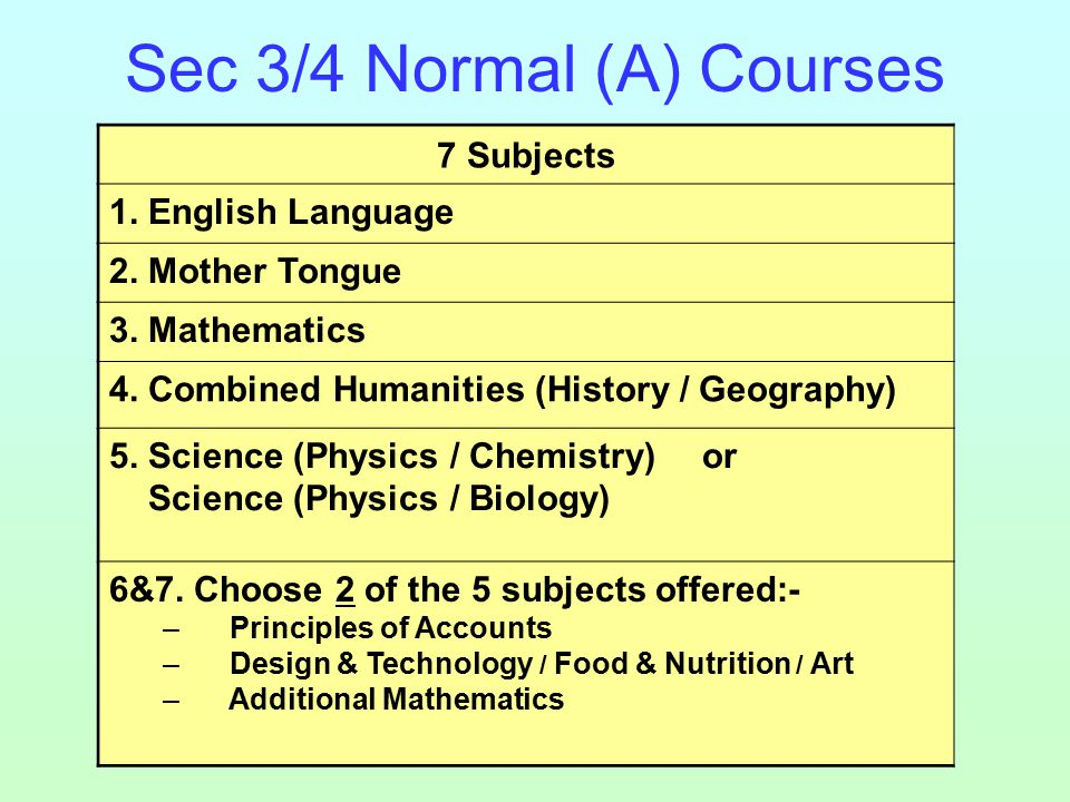 Sec 3/4 Normal (A) Courses 7 Subjects 1. English Language 2.