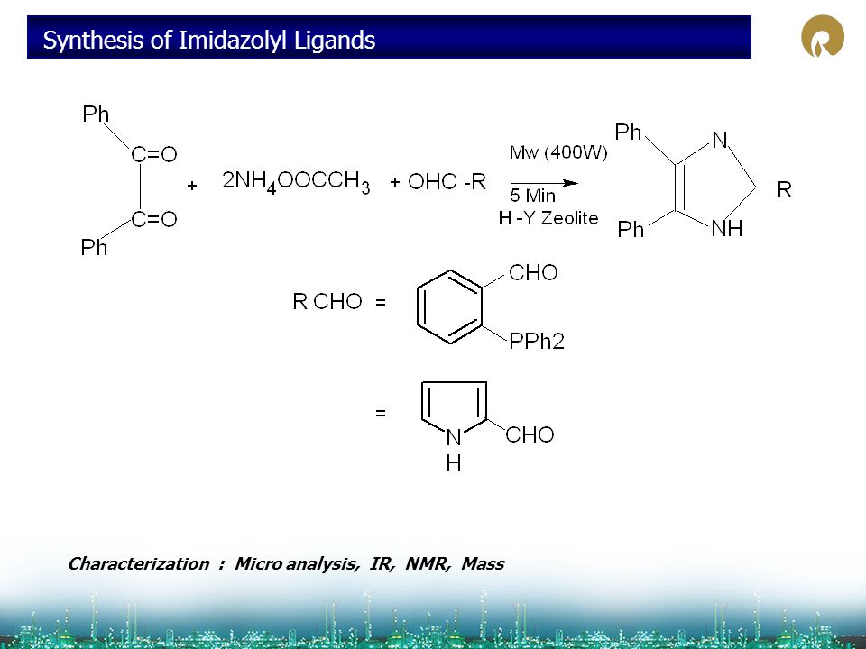 Synthesis of Imidazolyl Ligands Characterization : Micro analysis, IR, NMR, Mass