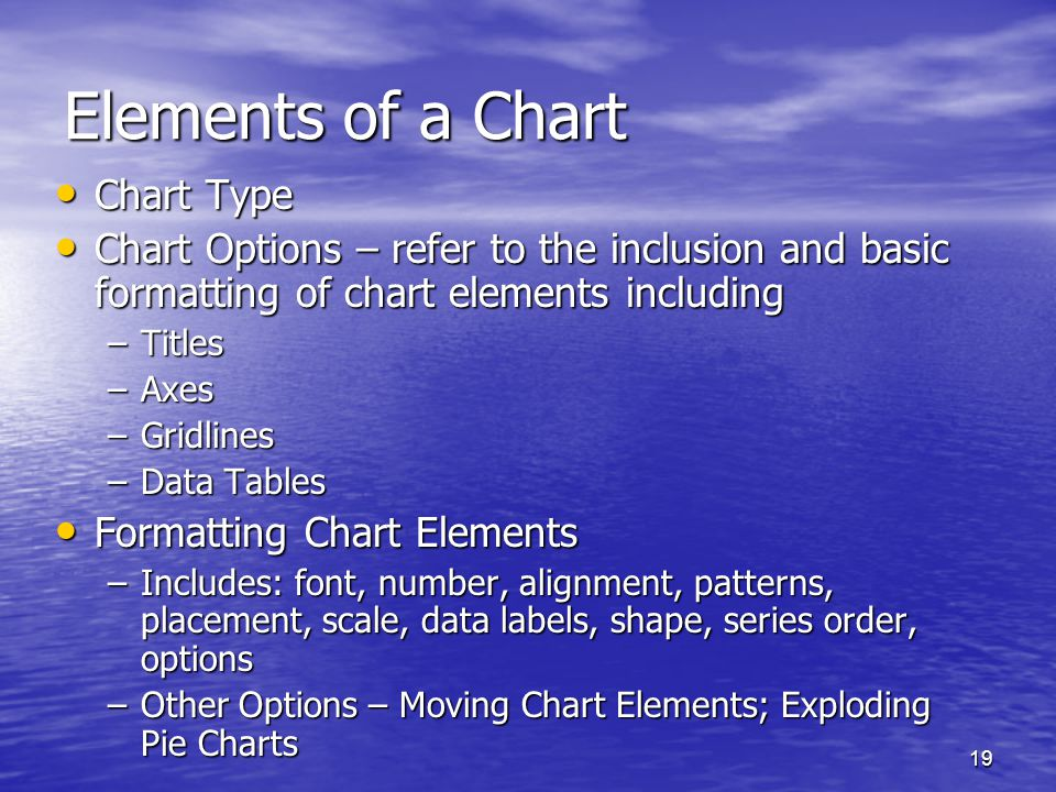 19 Elements of a Chart Chart Type Chart Type Chart Options – refer to the inclusion and basic formatting of chart elements including Chart Options – refer to the inclusion and basic formatting of chart elements including –Titles –Axes –Gridlines –Data Tables Formatting Chart Elements Formatting Chart Elements –Includes: font, number, alignment, patterns, placement, scale, data labels, shape, series order, options –Other Options – Moving Chart Elements; Exploding Pie Charts