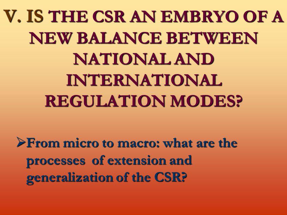 V. IS THE CSR AN EMBRYO OF A NEW BALANCE BETWEEN NATIONAL AND INTERNATIONAL REGULATION MODES.