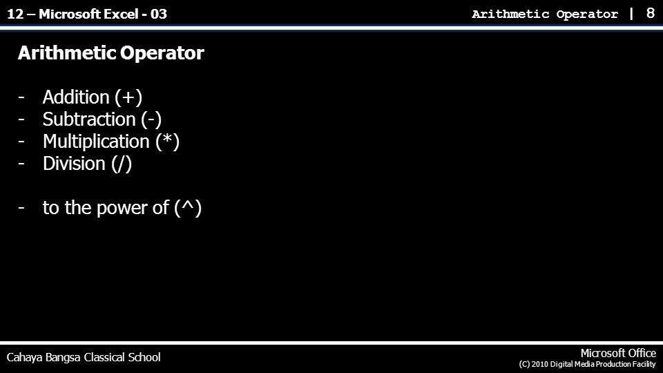 Arithmetic Operator | 8 Cahaya Bangsa Classical School Microsoft Office (C) 2010 Digital Media Production Facility Arithmetic Operator -Addition (+) -