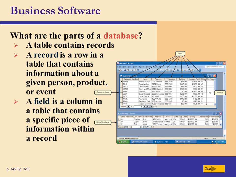Business Software What are the parts of a database? p. 145 Fig. 3-13 Next  A table contains records  A record is a row in a table that contains info