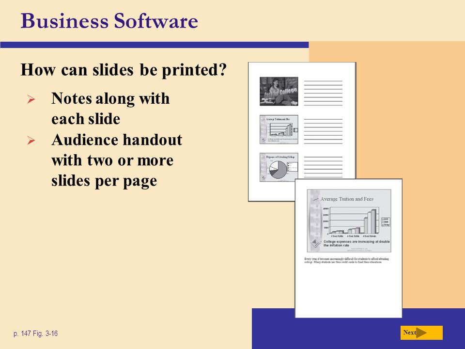 Business Software How can slides be printed? p. 147 Fig. 3-16 Next  Notes along with each slide  Audience handout with two or more slides per page