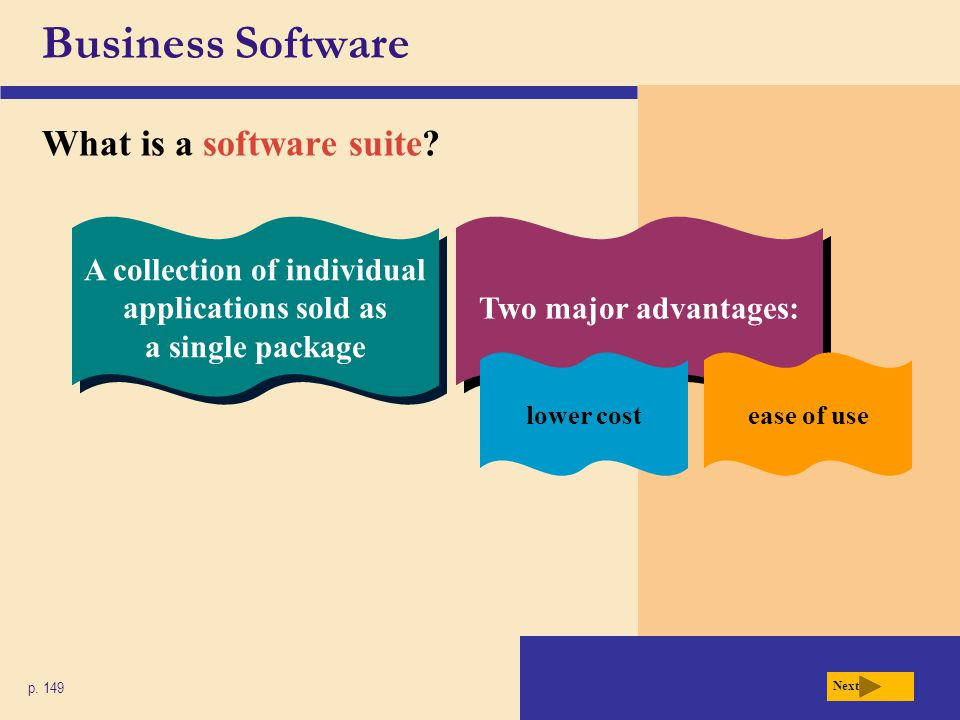 Business Software What is a software suite? p. 149 A collection of individual applications sold as a single package Two major advantages: lower costea