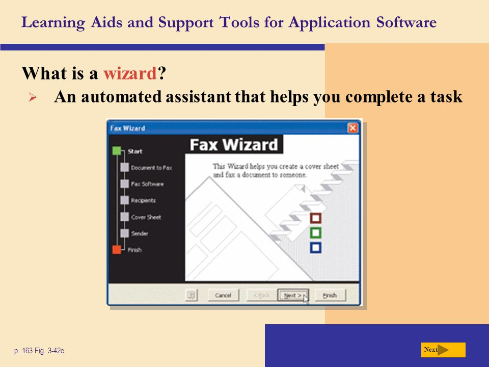 Learning Aids and Support Tools for Application Software What is a wizard? p. 163 Fig. 3-42c Next  An automated assistant that helps you complete a t