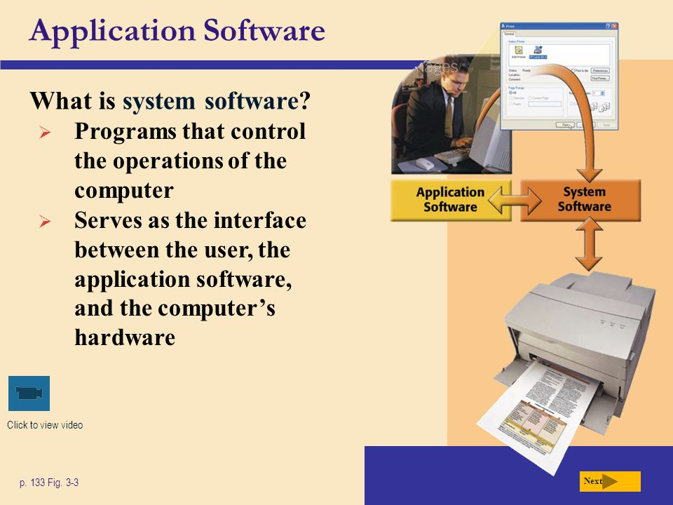 Application Software What is system software? p. 133 Fig. 3-3 Click to view video Next  Programs that control the operations of the computer  Serves