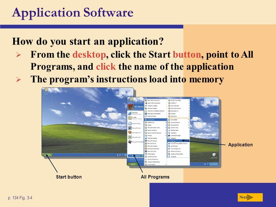 Application Software How do you start an application? p. 134 Fig. 3-4 Start buttonAll Programs Application  From the desktop, click the Start button,