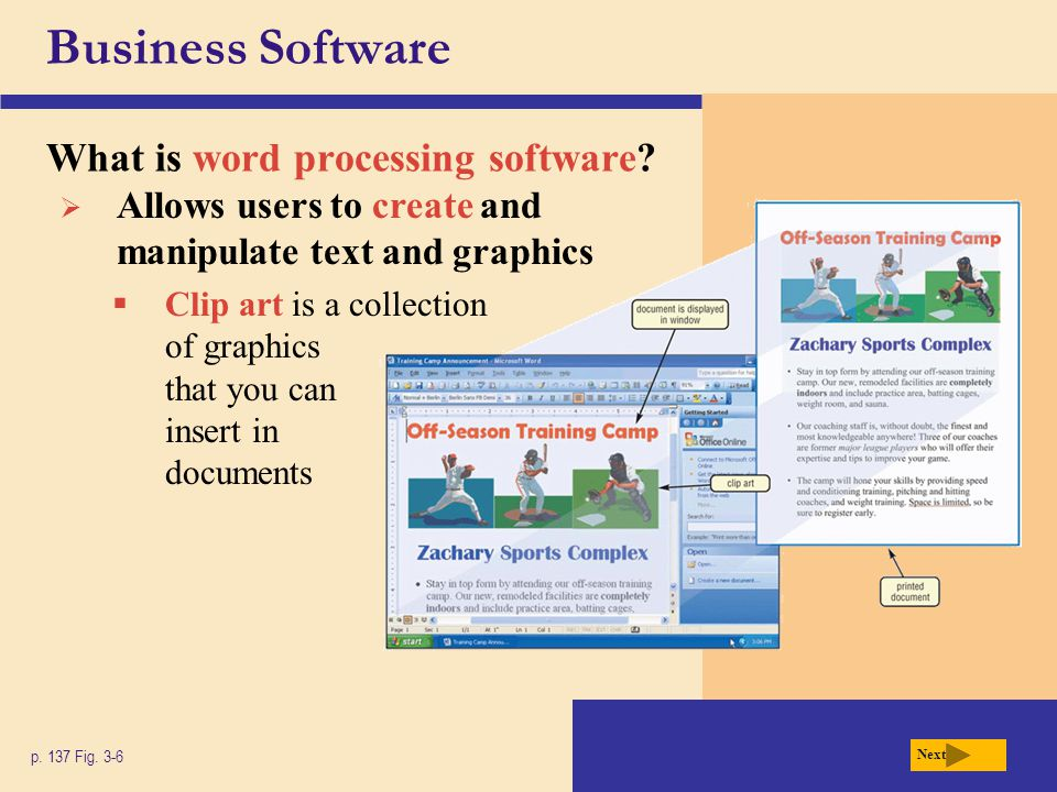 Business Software How can slides be printed.p. 147 Fig.