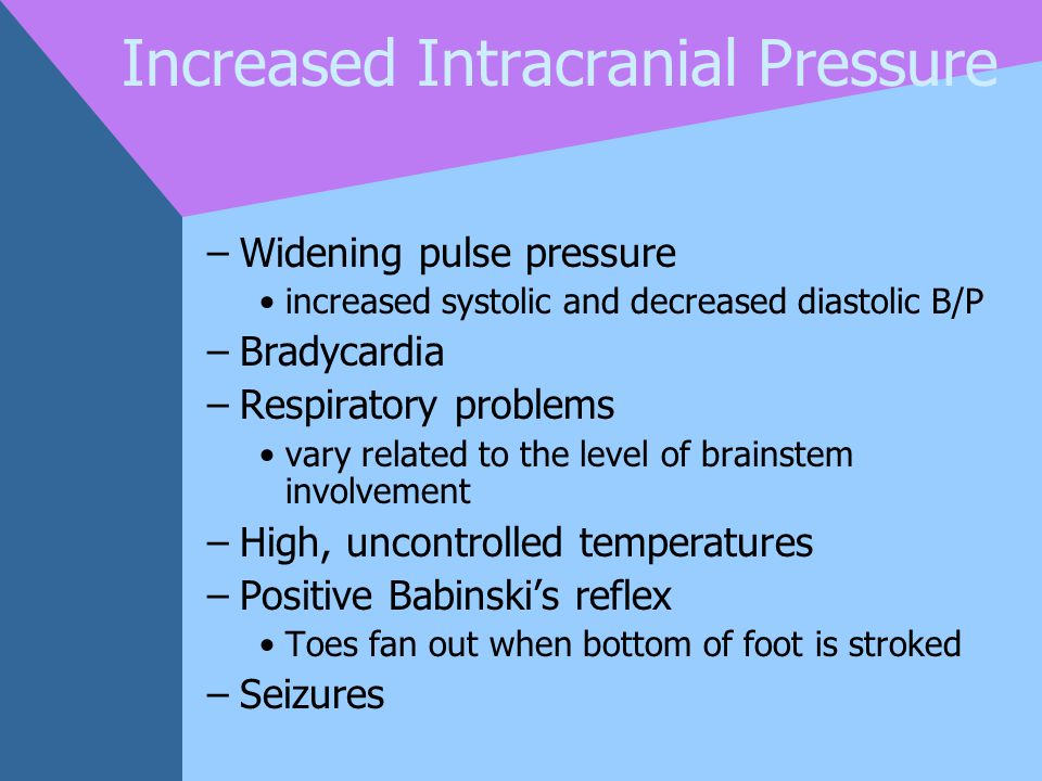 Increased Intracranial Pressure –Widening pulse pressure increased systolic and decreased diastolic B/P –Bradycardia –Respiratory problems vary relate