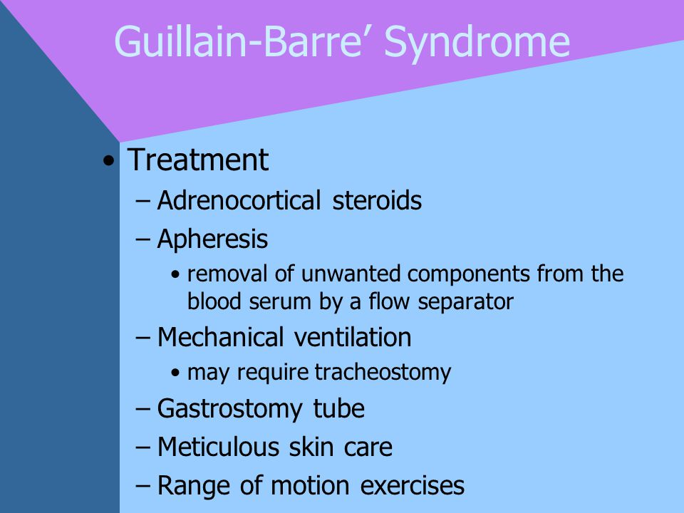 Guillain-Barre' Syndrome Treatment –Adrenocortical steroids –Apheresis removal of unwanted components from the blood serum by a flow separator –Mechan