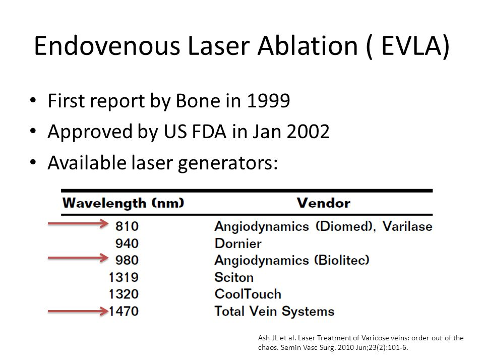 Endovenous Laser Ablation ( EVLA) First report by Bone in 1999 Approved by US FDA in Jan 2002 Available laser generators: Ash JL et al. Laser Treatmen