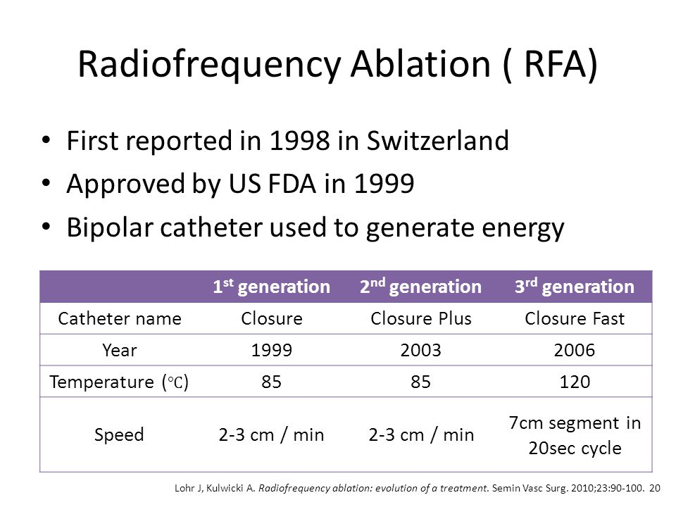 Radiofrequency Ablation ( RFA) First reported in 1998 in Switzerland Approved by US FDA in 1999 Bipolar catheter used to generate energy 1 st generati