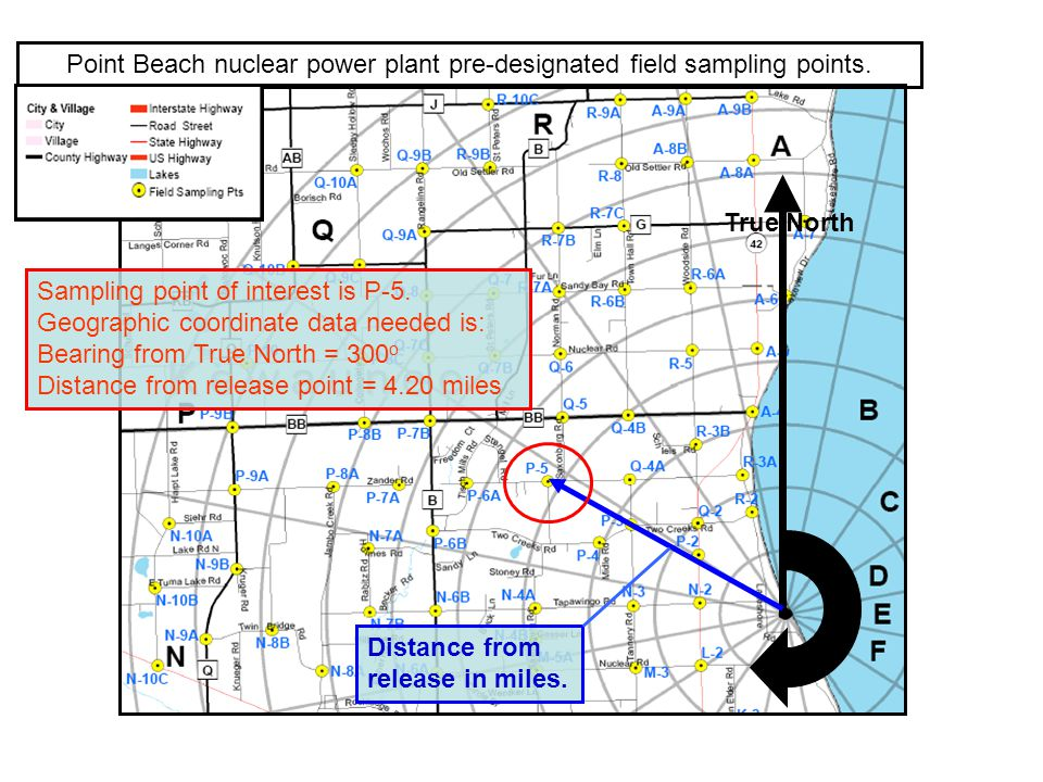 Point Beach nuclear power plant pre-designated field sampling points. True North Sampling point of interest is P-5. Geographic coordinate data needed