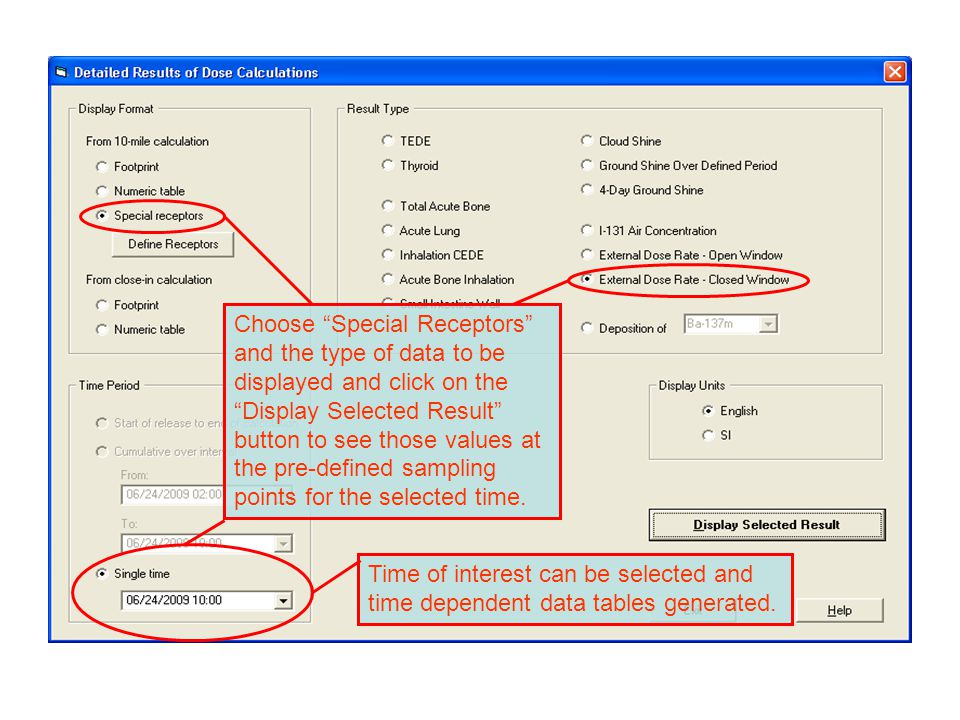 """Choose """"Special Receptors"""" and the type of data to be displayed and click on the """"Display Selected Result"""" button to see those values at the pre-defin"""