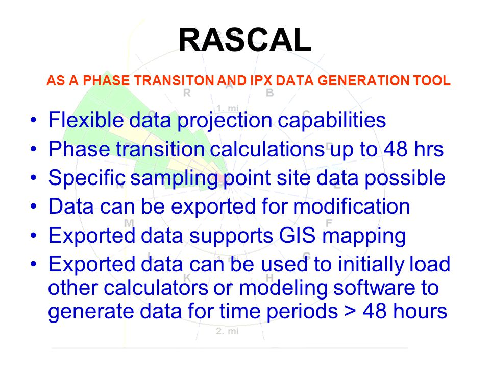Data points are spatially limited to the geographic locations that RASCAL determines by use of its two plume models (Gaussian and Lagrangian), and also does not have GIS coordinates available in this export feature which, if included, could better serve exercise data development.