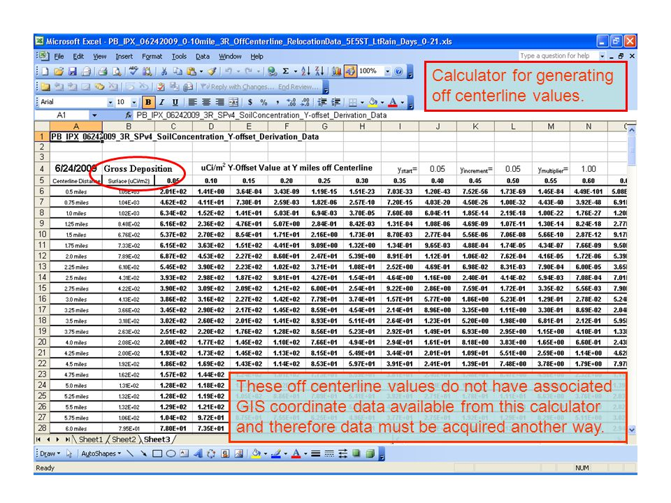 Calculator for generating off centerline values. These off centerline values do not have associated GIS coordinate data available from this calculator