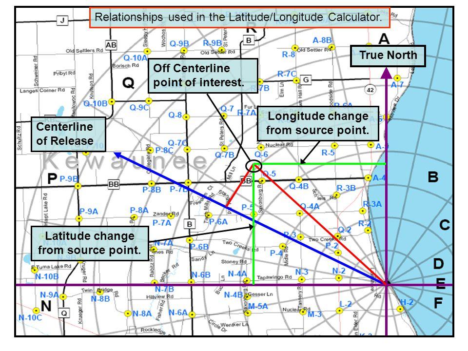 True North Centerline of Release Off Centerline point of interest. Longitude change from source point. Latitude change from source point. Relationship