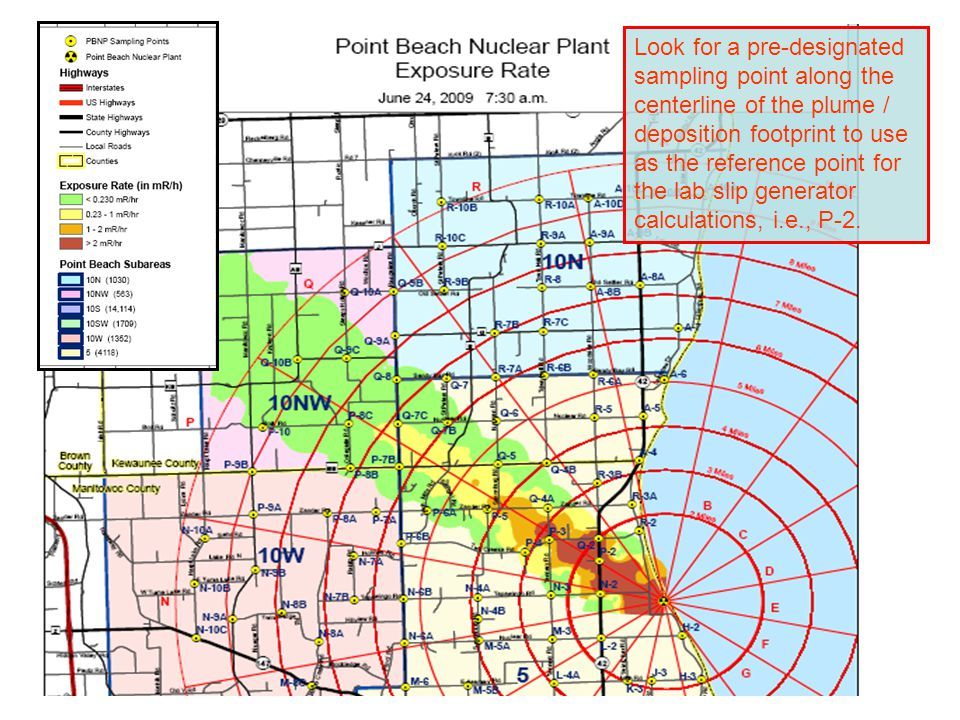 Look for a pre-designated sampling point along the centerline of the plume / deposition footprint to use as the reference point for the lab slip gener