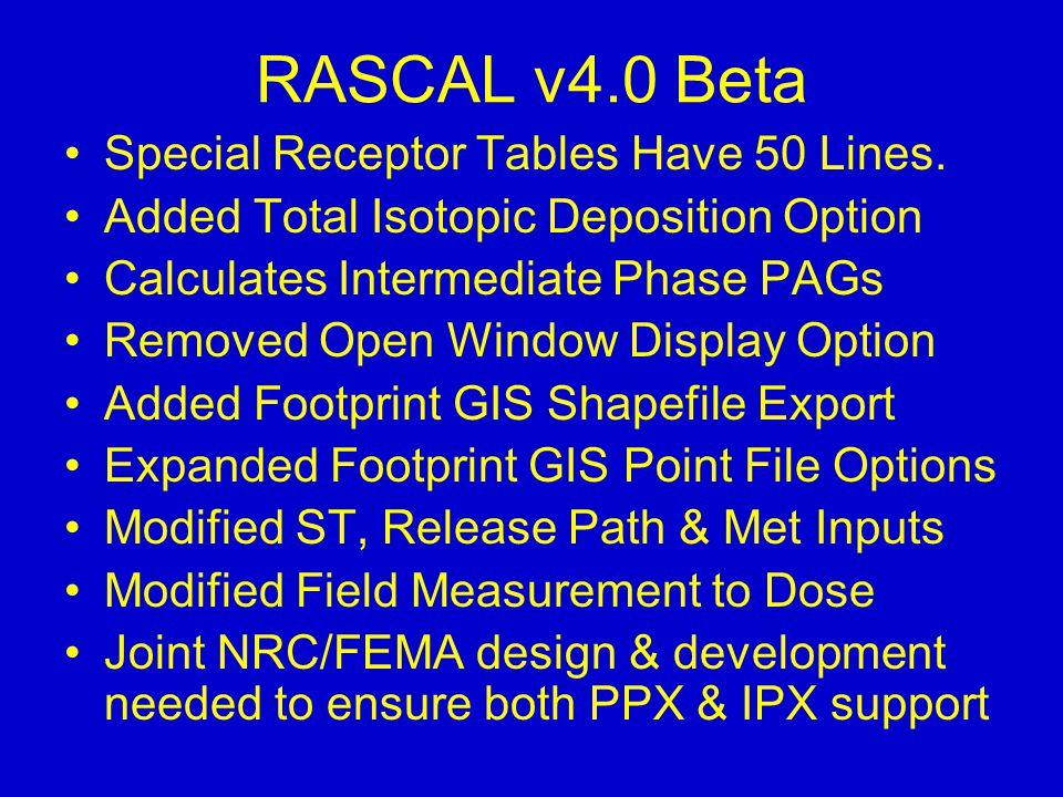 RASCAL v4.0 Beta Special Receptor Tables Have 50 Lines.