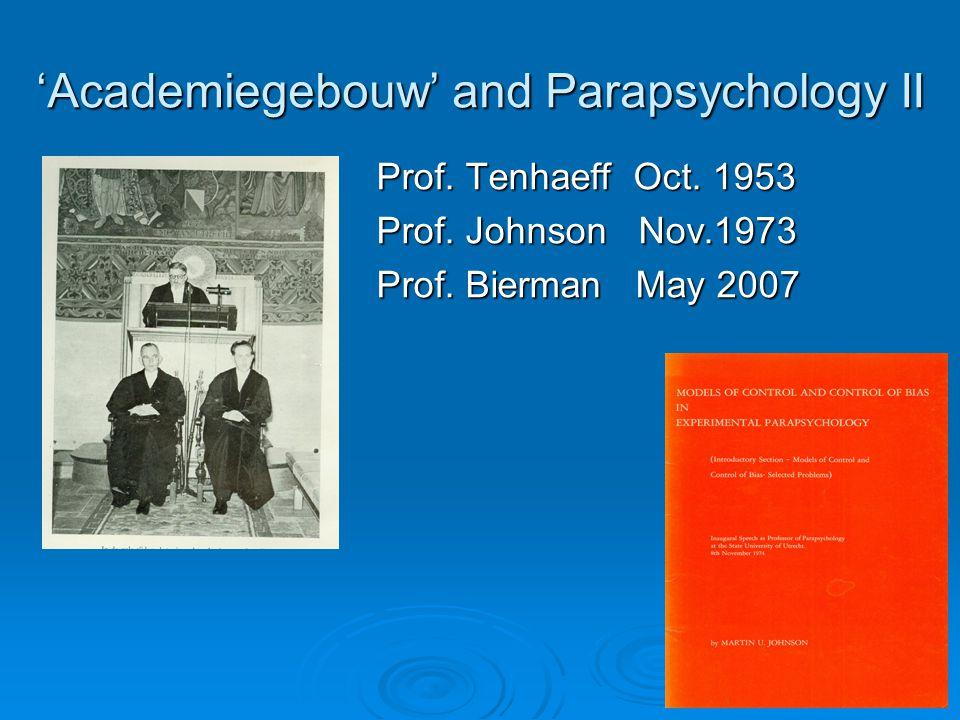 'Academiegebouw' and Parapsychology II Prof. Tenhaeff Oct.