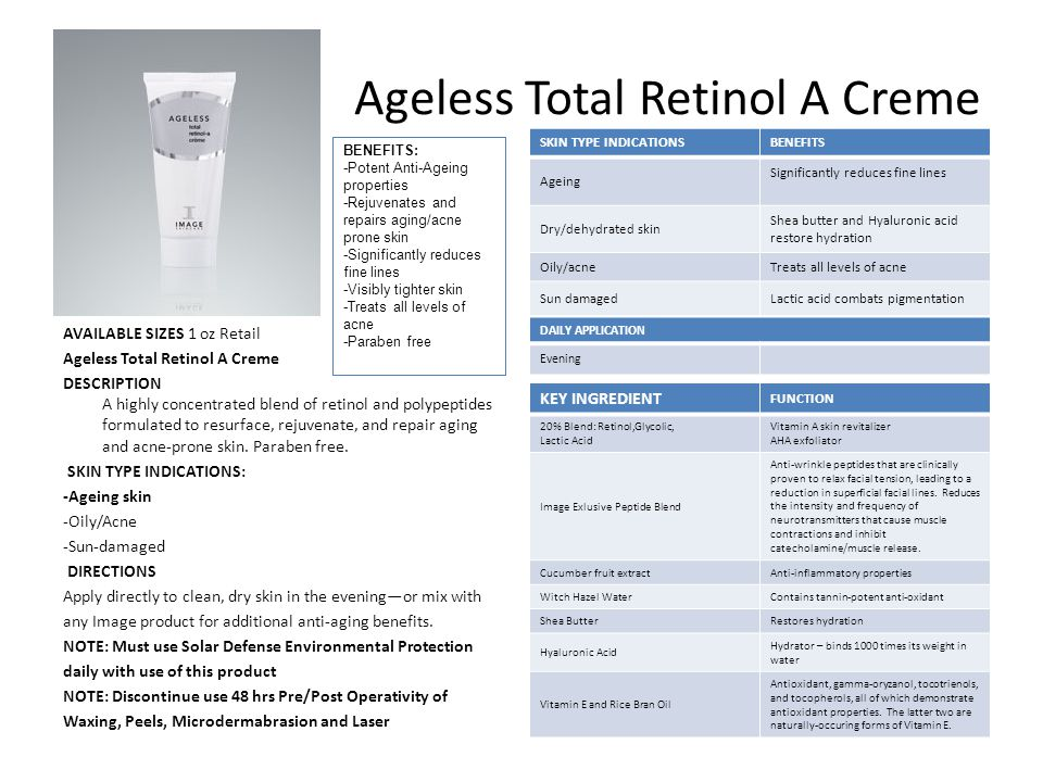 Ageless Total Retinol A Creme AVAILABLE SIZES 1 oz Retail Ageless Total Retinol A Creme DESCRIPTION A highly concentrated blend of retinol and polypeptides formulated to resurface, rejuvenate, and repair aging and acne-prone skin.